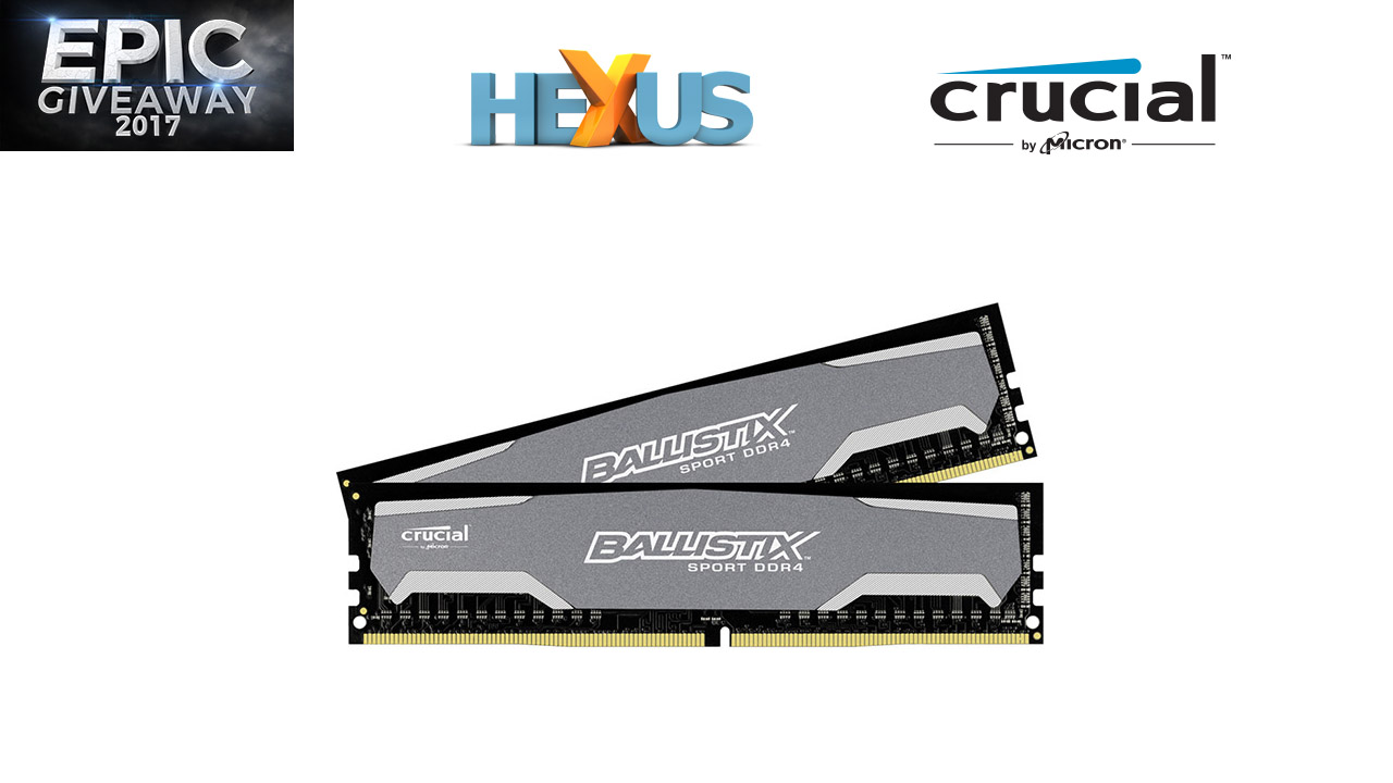 Конкурс HEXUS.net Epic Giveaway 2017 Day 23: Win 16GB Crucial Ballistix Sport DDR4 RAM